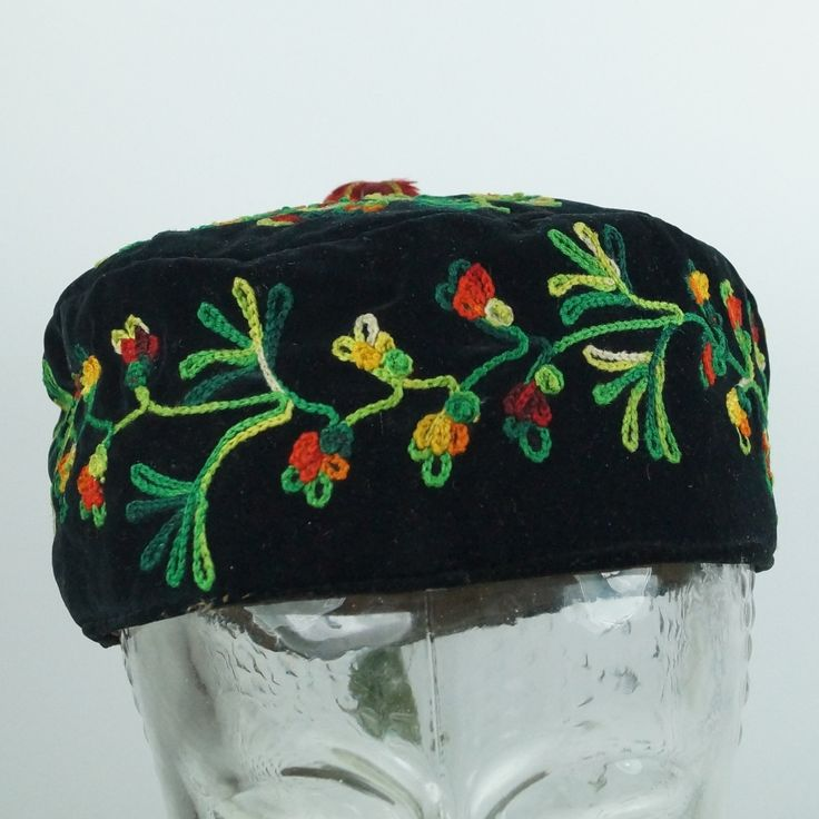Antique Victorian Gentleman's Smoking Cap Velvet Embroidery 1860 Museum Quality