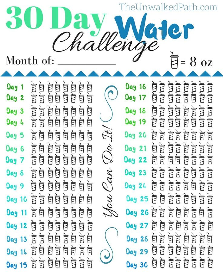 Free Printable. 30 Day Water Challenge. Drink more water. Feel better and more hydrated.