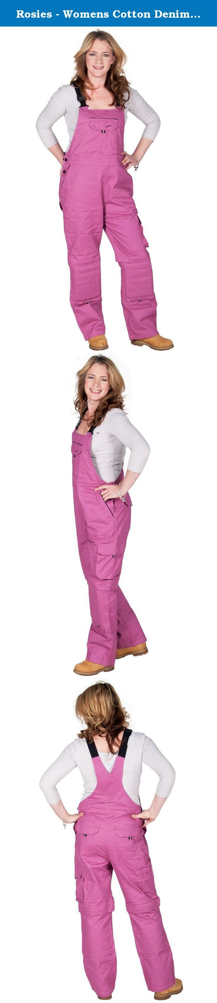 Rosies - Womens Cotton Denim Bib - Dark Pink Ladies Work Overalls. *** Please Note All sizes in the Drop down Bar are USA Sizes*** Regular fit dungarees from ROSIES USA Adjustable / Elasticated straps Multiple pockets (incl. a hidden inside zipper pocket) Side button fastening (adjustable) Knee pad pouches (with removable foam kneepads) Straight leg / Fits over boots Trouser legs zip off to convert into shorts Lightweight denim 100% Cotton Machine washable .