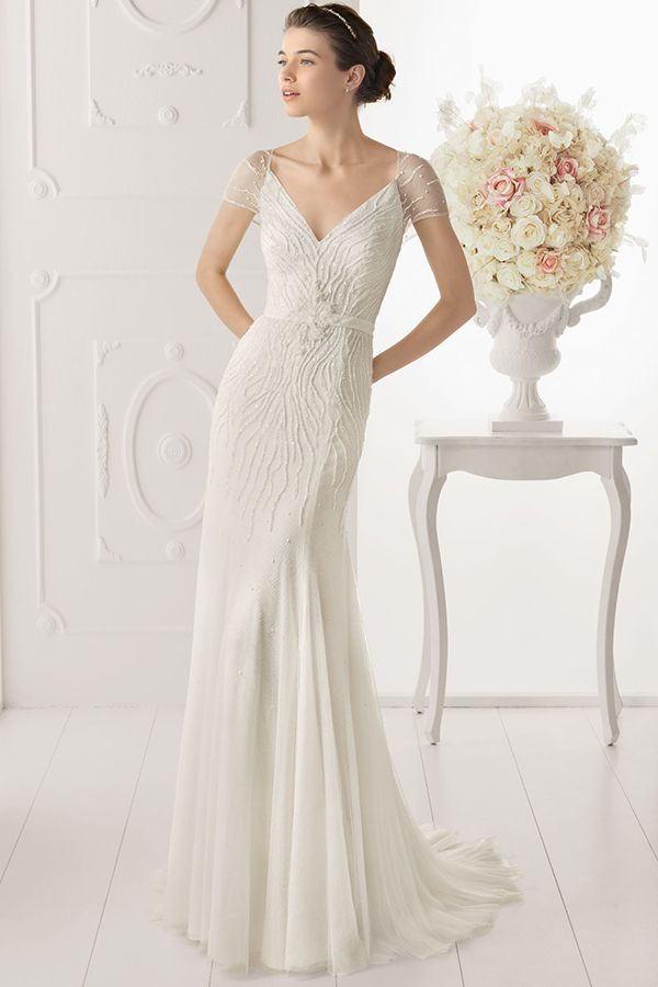 Illusion Cap Sleeves Sequined V Neck Sheath Tulle Wedding Dress JSWD0252