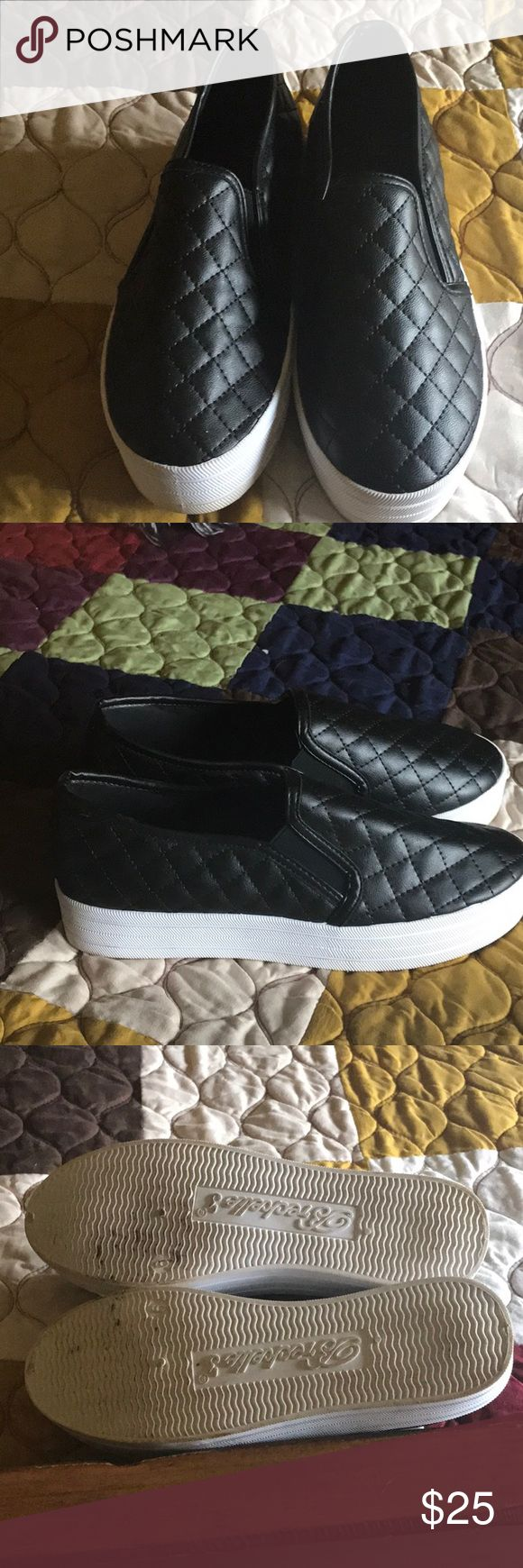 Black quilted tennis shoes Chanel style size 6 Like new, worn once size 6. Black quilted tennies - slip on. Shoes