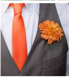 Best Man Grey Suit With Orange Tie Groomsmen Maroon