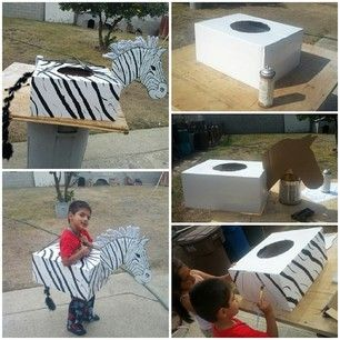 Get your stripe on. | 33 Super Easy Cardboard Box Halloween Costumes For Lazy People