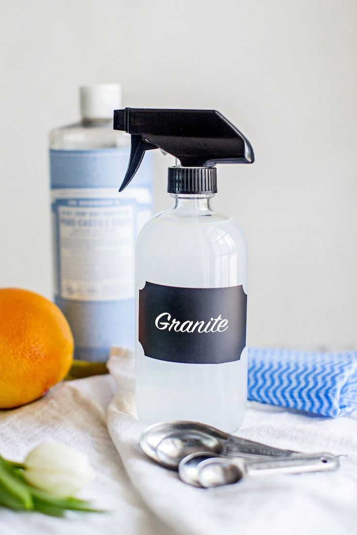 With just 4 ingredients, this DIY Natural Granite Cleaner Spray, made without vinegar, will clean and disinfect your countertops.