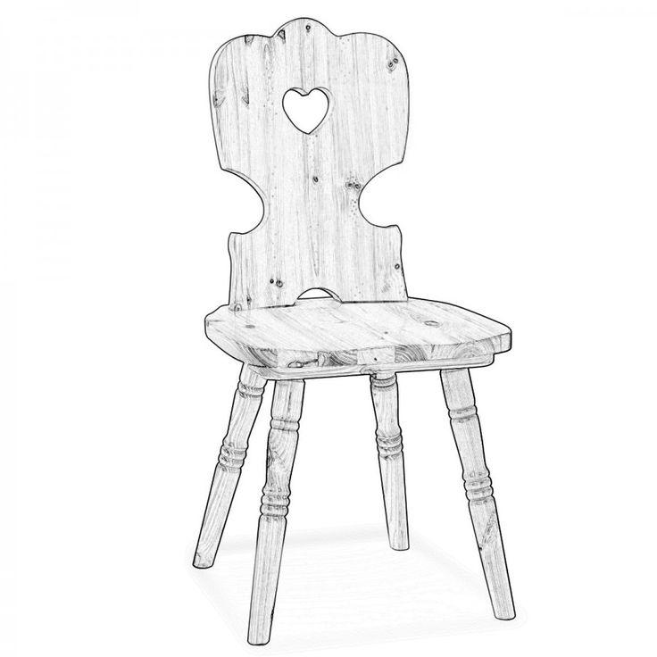 TESSA. Per chi ama il fai da te mettiamo a disposizione le sedie in legno grezzo così da poterle verniciare come si desidera per meglio adattarle al proprio arredamento.  Questa sedia ha uno stile tipico tirolese, è la classica sedia con decoro a cuore sullo schienale arricchita però da torniture nella parte delle gambe.