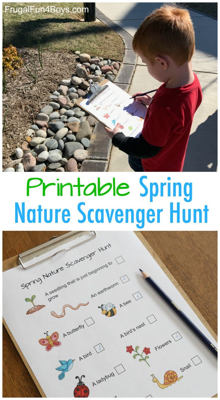Printable Spring Nature Scavenger Hunt - Kids can hunt for things in nature and check them off!