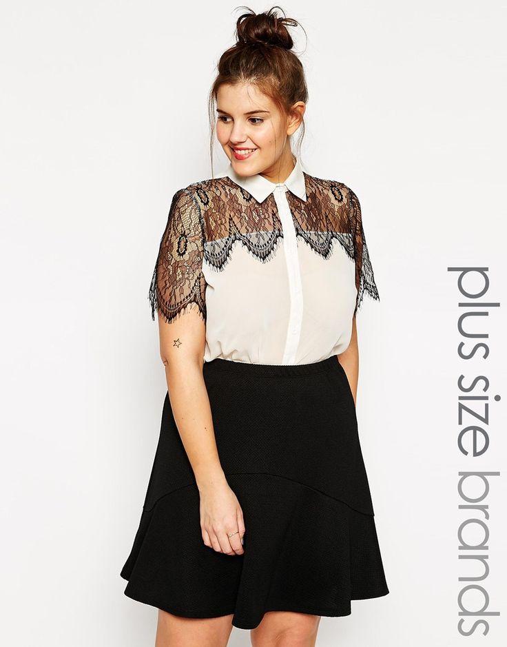 Image 1 ofClub L Plus Shirt with Eyelash Lace Detail