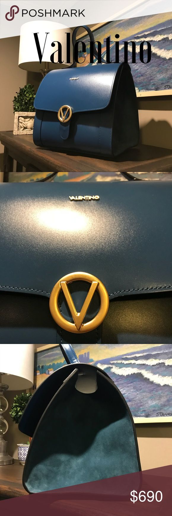 NWT Valentino XL Teal Blue Valentino Bag What a stunning bag!  NWT Teal Blue Doctor style bag.  So much room inside!!  Leather with Suede side panels-a real eye catcher! Mario Valentino Bags