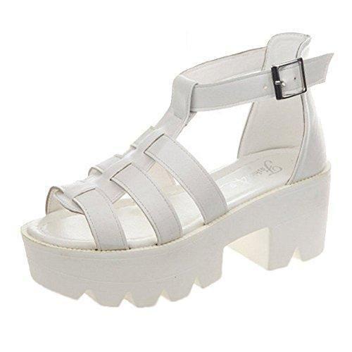 Oferta: 9.93€. Comprar Ofertas de Mine Tom Mujer Estilo Romano Sandalias De Gladiador Sandalias De Verano Zapatos De Plataforma Blanco 38 barato. ¡Mira las ofertas!