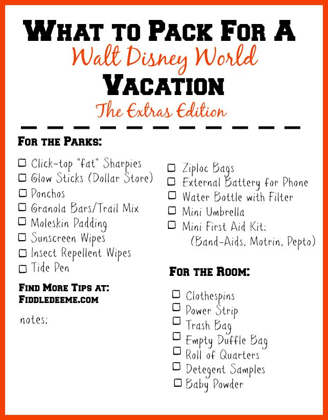 What to Pack for a Walt Disney World Vacation Video and Printable