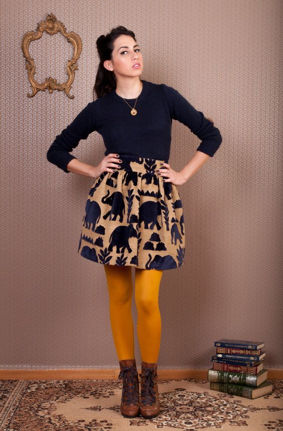 High waist-ed vintage skirt with royal blue elephants and mustard tights