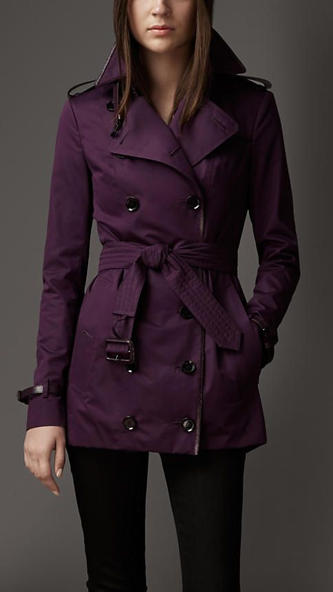 Short Leather Detail Sateen Trench Coat | Burberry