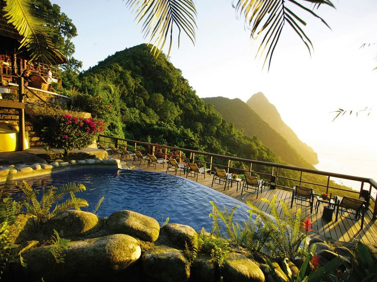 Their trip landed a little closer to home: Ladera on lush, tropical St. Lucia in the Caribbean.And on the same island but 1,000 feet below it: Sugar Beach (Viceroy).