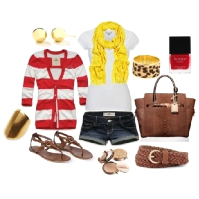 love the red striped + yellow scarf + leopard bangle...
