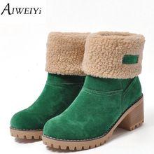 AIWEIYi Marca Mujeres Botas altas de Invierno Zapatos de Mujer de Piel Caliente Botas de nieve de Moda Cuadrados Tacones Altos Botines Negro Verde botas(China)