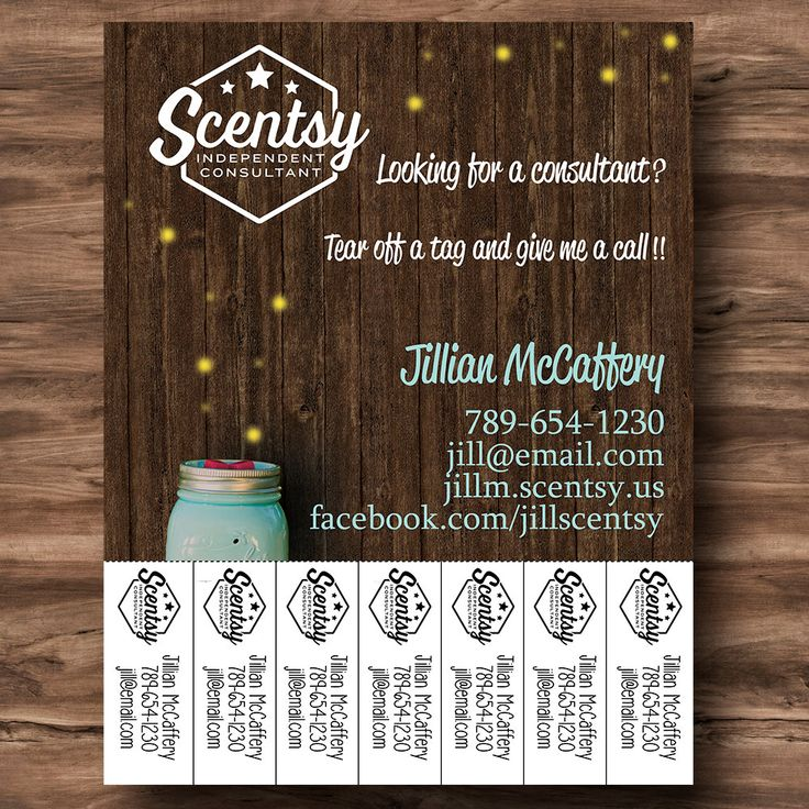 "Chasing Fireflies Marketing Flyer {8.5"" x 11""} Customized Tear Away Tags with Scentsy Consultant Information - PRINT YOUR OWN by heartsandarrowsshop on Etsy"