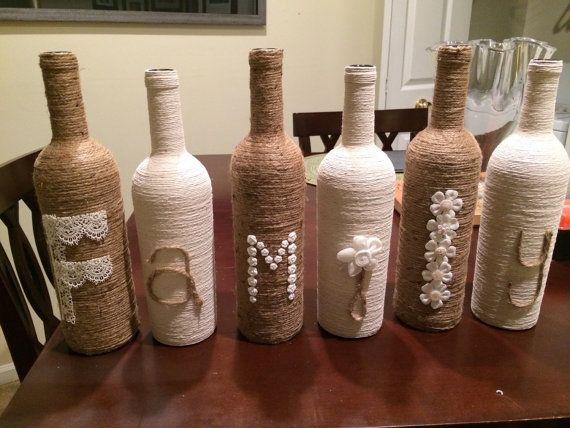 Family Twine Bottle Decor by FindALittleDream on Etsy