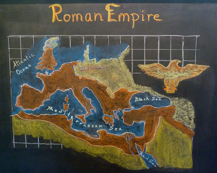 Age 12 ~ Roman History ~ Map of the Roman Empire ~ chalkboard drawing
