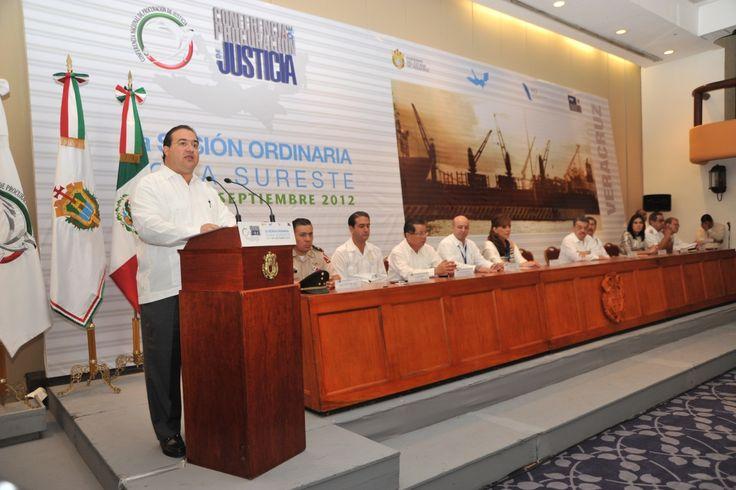 El gobernador Javier Duarte de Ochoa inauguró la Segunda Sesión Ordinaria Zona Sureste de la Conferencia Nacional de Procuración de Justicia, en compañía de la procuradora Marisela Morales Ibáñez y el procurador General de Justicia del Estado, Felipe Amadeo Flores Espinosa.