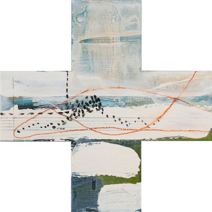 """Title: Migration Series: Greater than Date: 2015 Status: Sold Medium: Acrylic and mixed media painting on plywood board Size: 450mm x 450mm plus shape Price: $500 NZ Description:  """"Since returning home to where I grew up, I have noticed the Mallard ducks in the pond at the bottom of the garden have done the…Continue reading →"""
