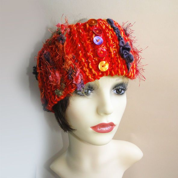 LUXURY DESIGNER SKI  HEADBAND EAR WARMER HAND KNITTED EXCLUSIVE DESIGN RED HAT