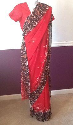 NEW SOFT GEORGETTE RED SARI SAREE INDIAN PAKISTANI NEPALI BANGLADESHI #SARISAREE