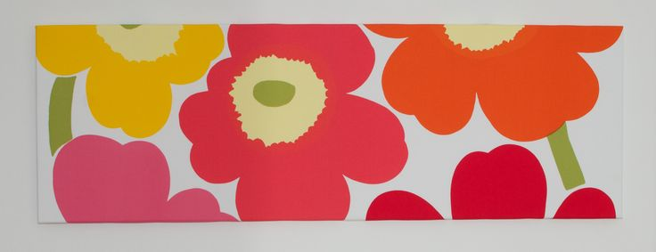 Marimekko 'Unniko' Wall Art hand stretched by Lauren Unlimited.  A beautiful, fresh design featuring coral, orange, pink and a splash of yellow and green, Unniko would be Marimekko's most iconic and recognisable pattern.   For custom orders contact lauren@laurenunlimited.com.au
