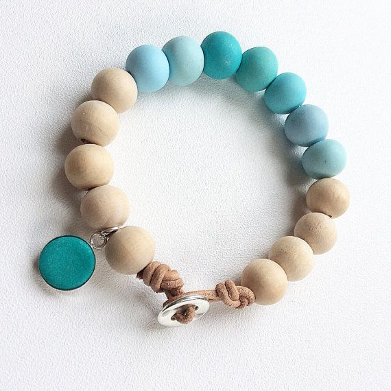 Timber and turquoise handmade beaded bracelet by Rubybluejewels