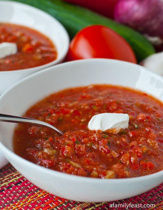 Gazpacho - A light and delicious summertime soup - and a great way to use up the tomatoes from your garden!