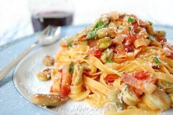 Ricetta Pasta con fave, pancetta e pomodorini