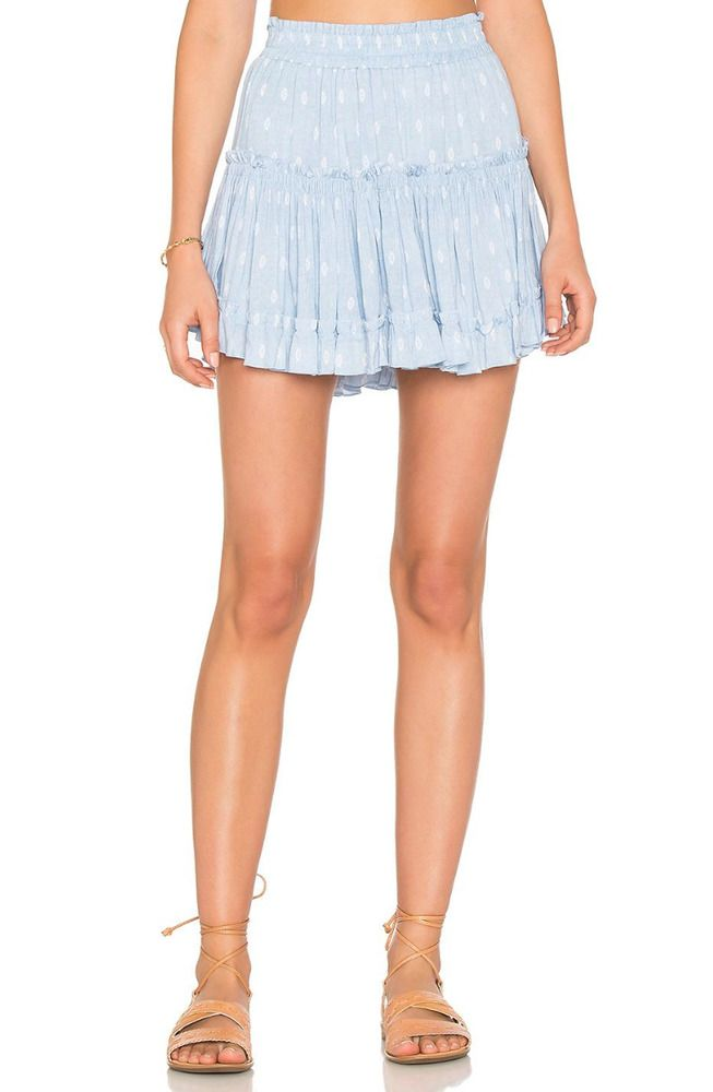 b97692f63 MISA LA Marion Printed Elastic Cotton Ruffle Mini Skirt Light Blue XS $198  #MISA #Mini #Casual