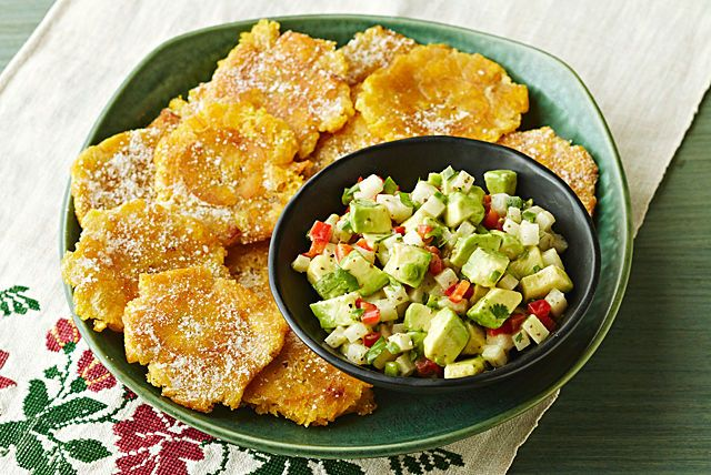 Explore Latin American flavors at home with this easy recipe for skillet-cooked Plantain Chips with Jicama and Avocado Salsa.