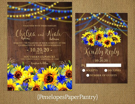 Rustic Sunflower Fall Wedding Invitation Sunflowers Royal Blue