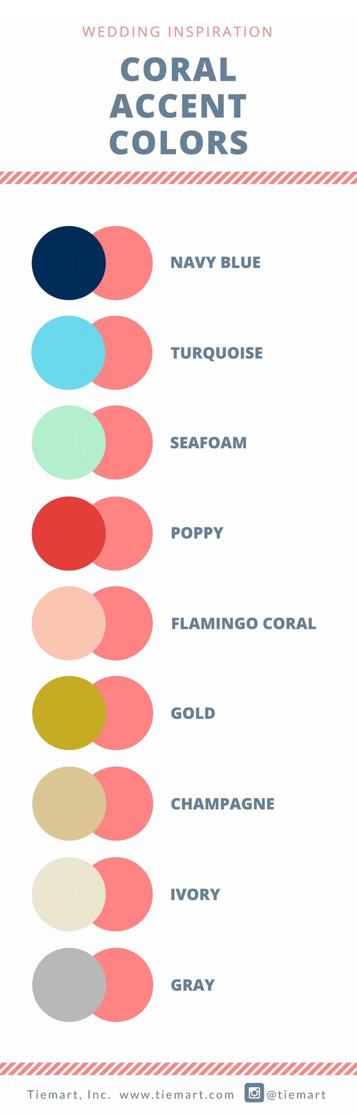 Accent your coral wedding with any of these colors. Many of these colors can be mixed and matched for a larger color palette.