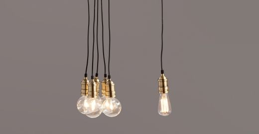 Suspensions laiton et ampoules Edison