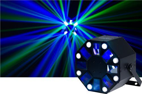 Solena Tarantula LED RGBWA Effect & DMX Strobe Perfect for mobile dj's and small venues, the Solena Tarantula LED 2-in-1 light features a 5x 3w RGBWA LED moonflower effect and 8x 3w white LED strobes that add a great light show to any event. It is also DMX linkable and has a built in bracket to connect a clamp to and hang from any lighting stand or truss. Features:      Long life working hours: 20,000 hours     LED source: 8x 3W White LED strobe effect,  5x 3W RGBWA LED Effects     Beam…