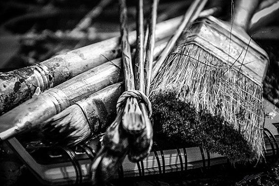Paint Brushes & Notebook Black and White  6000 x by StarPoint9