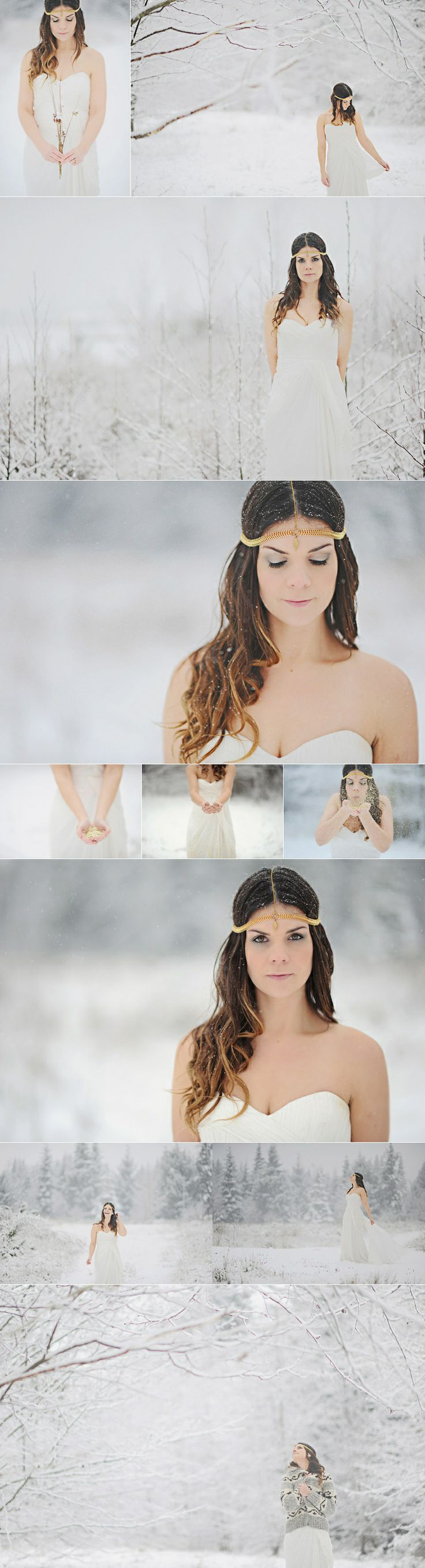 snowy bridal shoot