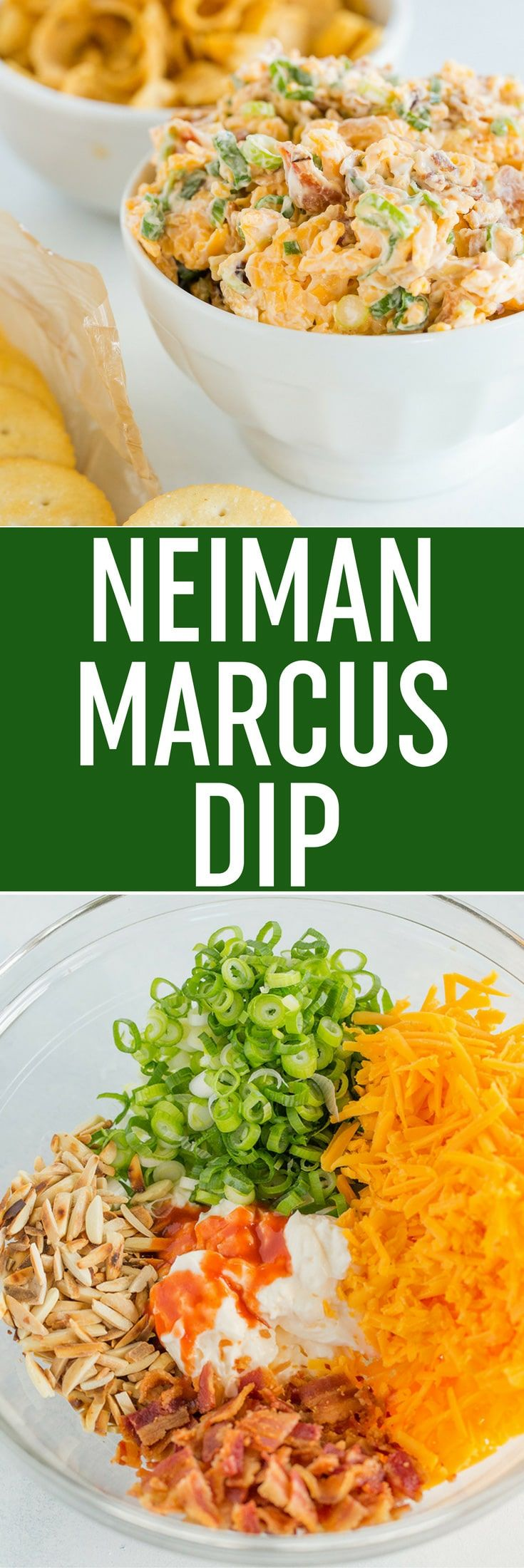 Neiman Marcus Dip is inspired by a dip served at their restaurants; a super easy combination of bacon, cheese, scallions, almonds, mayo and hot sauce... Ready in just 15 minutes! via @browneyedbaker