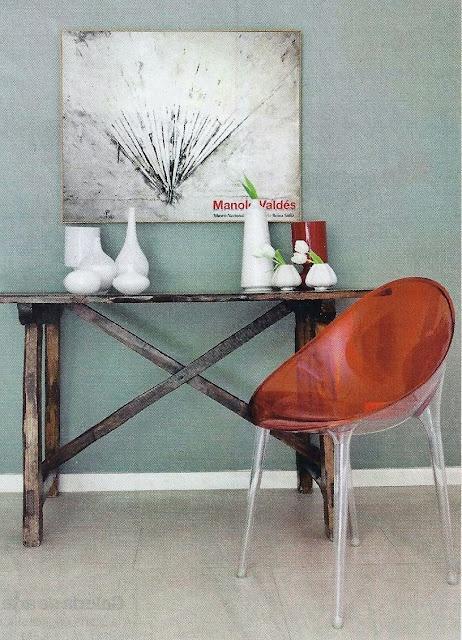 Phillipe Starck, KARTELL chair, ikea vases, ZTablo from Manolo Valdes