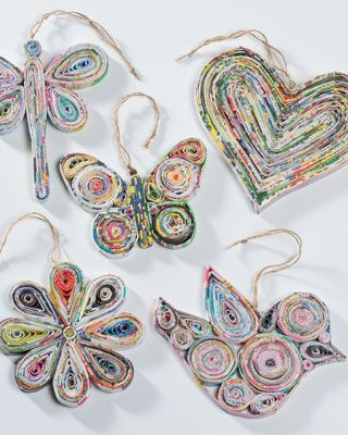 Recycled paper hanging decorations