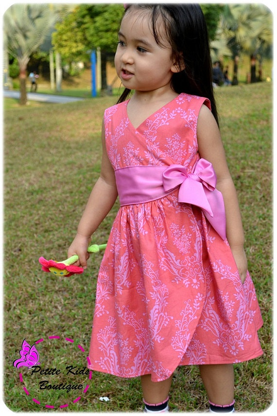 Anya Dress for Girls 12M-6Y PDF Pattern & Instructions by Petite Kids Boutique - wrap style -sleeves option-wide front sash. $6.90, via Etsy.