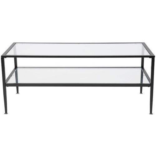 Flash Furniture Newport Collection Glass Coffee Table With Black - Flash furniture coffee table
