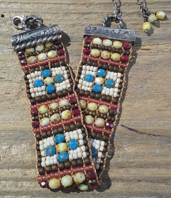 bead woven braceletbohosouthwest by Adornments925 on Etsy