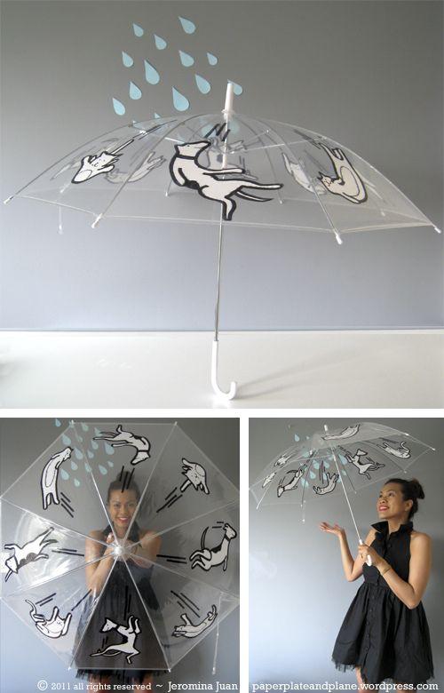 DIY raining cats and dogs umbrella.