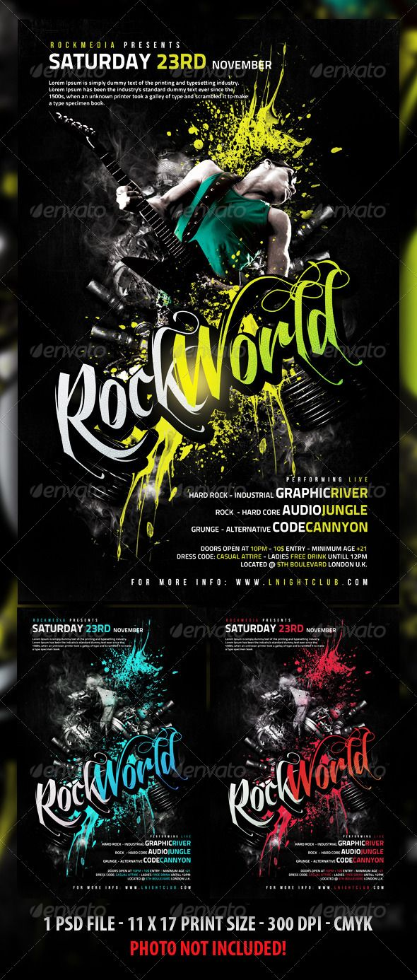 Poster design photoshop - Rock Flyer Poster