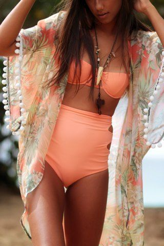 Stylish Collarless Floral Print Fringe Splicing 3/4 Sleeve Cover-Up For Women Swimwear | RoseGal.com Mobile