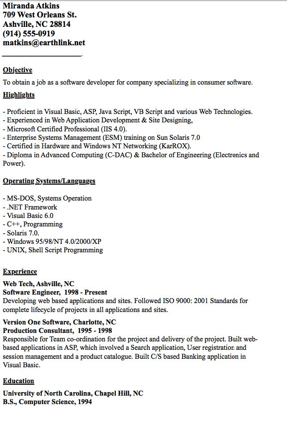Example of Developer Resume -   resumesdesign/example-of