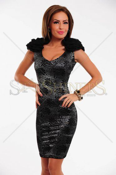 Rochie Fofy Flowered Bead Black