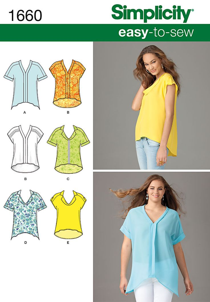 Simplicity Creative Group - Misses' & Plus Size Loose Fitting Tops: